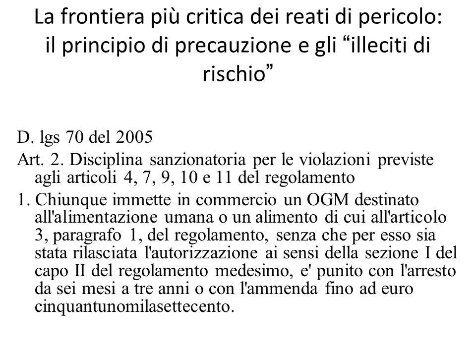 """La frontiera più critica dei reati di pericolo: il principio di precauzione e gli """"illeciti di rischio"""" D. lgs 70 del 2005 Art. 2. Disciplina sanziona"""