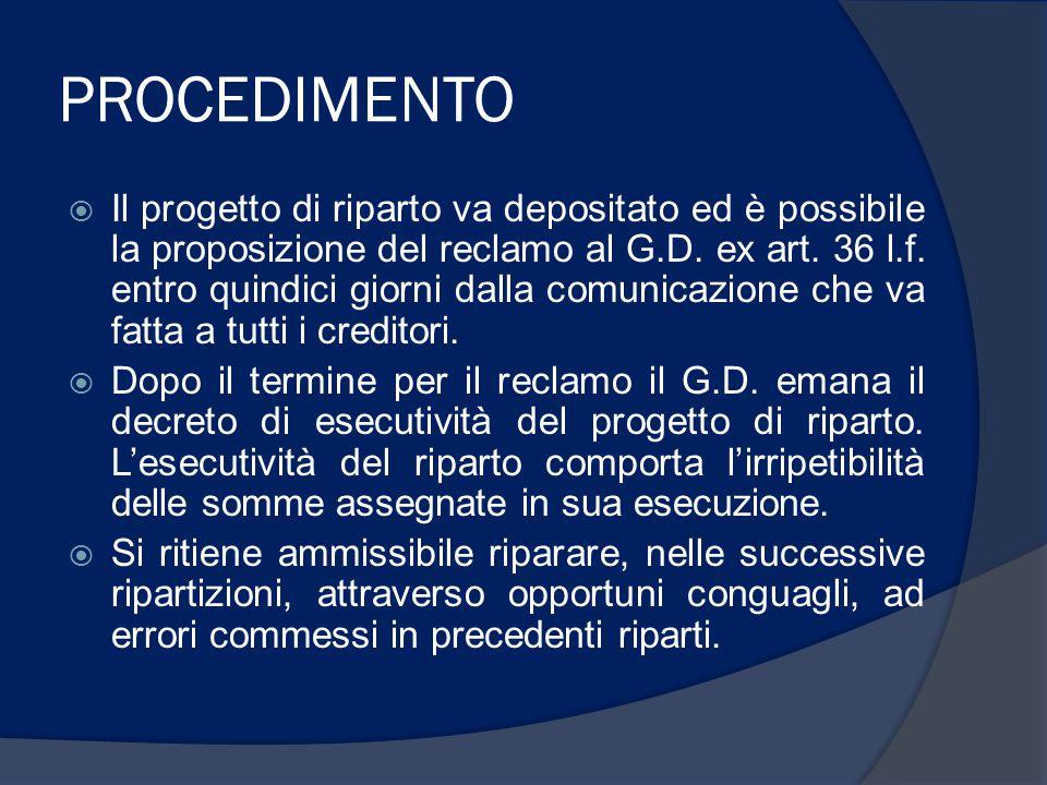 PROCEDIMENTO  Il progetto di riparto va depositato ed è possibile la proposizione del reclamo al G.D.