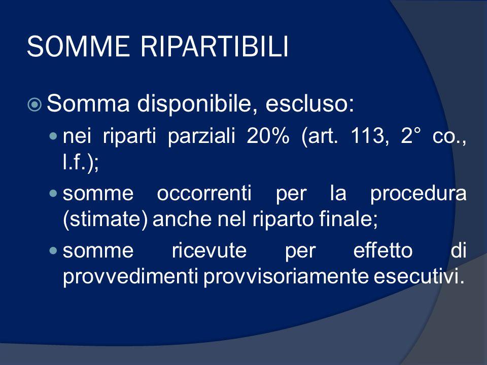 SOMME RIPARTIBILI  Somma disponibile, escluso: nei riparti parziali 20% (art.