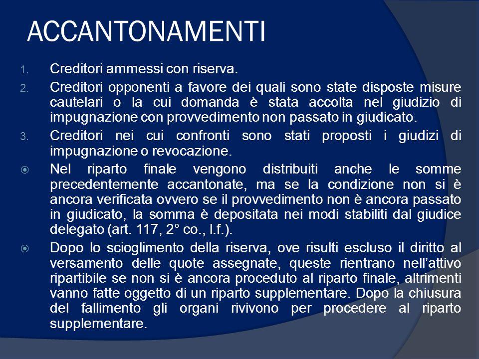 ACCANTONAMENTI 1. Creditori ammessi con riserva. 2.