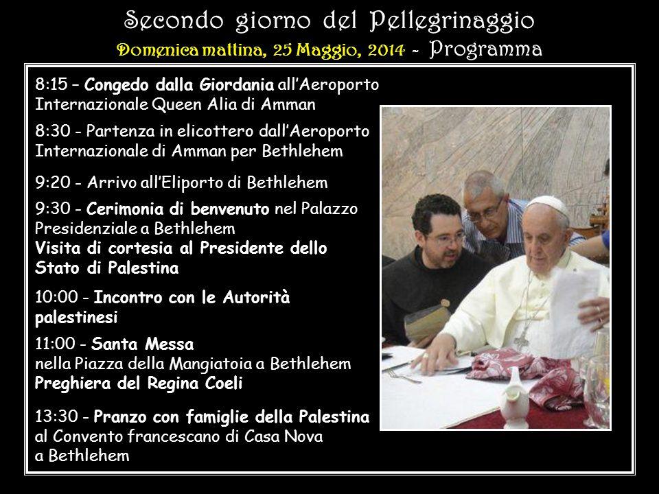 PELLEGRINAGGIO IN OCCASIONE DEL 50° ANNIVERSARIO DELL' INCONTRO A GERUSALEMME TRA PAPA PAOLO VI E IL PATRIARCA ATENAGORA 1964 2014