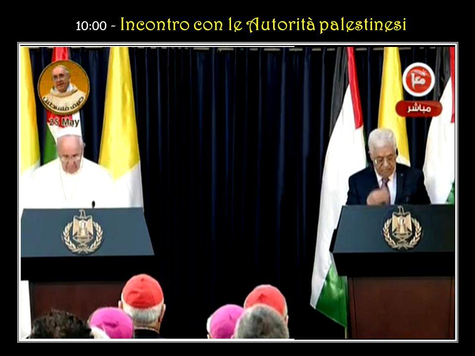 9:30 - Cerimonia di benvenuto nel Palazzo Presidenziale a Bethlehem Visita di cortesia al Signor Mahmoud Abbas, Presidente dello Stato di Palestina