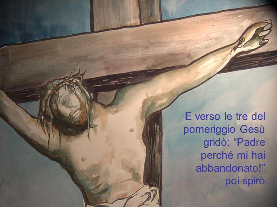 Venne poi condotto al calvario e li fu crocifisso in mezzo a due ladroni.