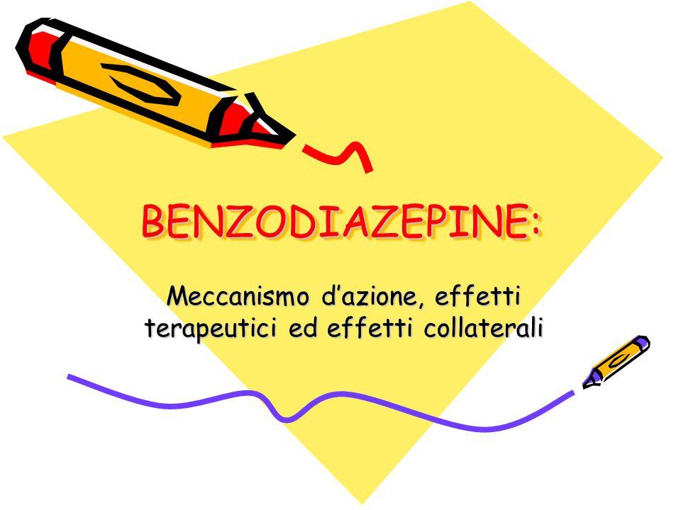 BENZODIAZEPINE:BENZODIAZEPINE: Meccanismo d'azione, effetti terapeutici ed effetti collaterali