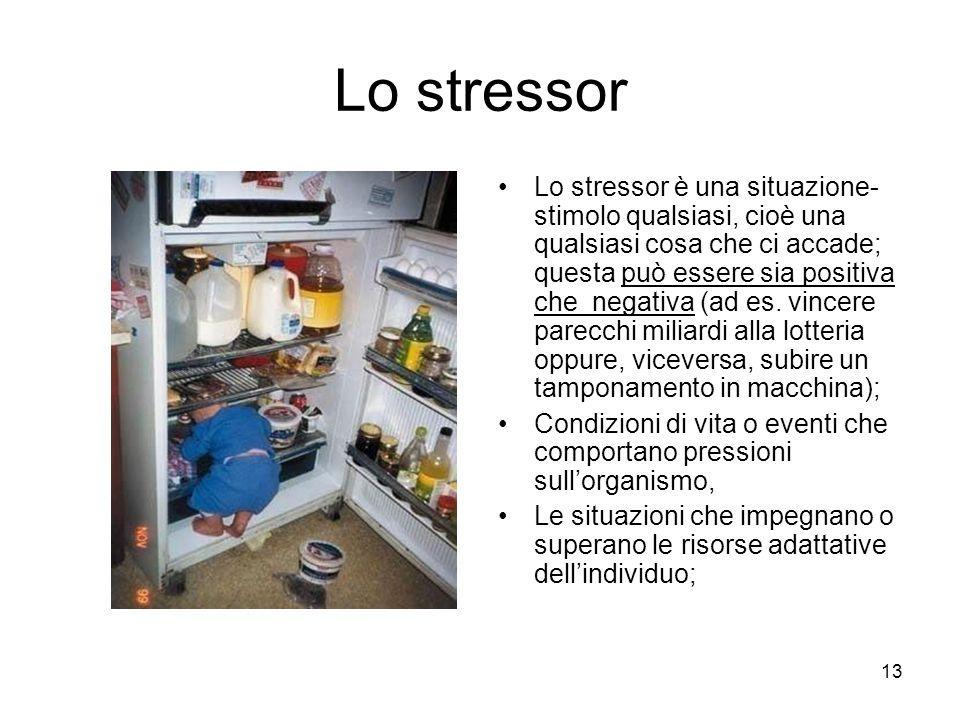 13 Lo stressor Lo stressor è una situazione- stimolo qualsiasi, cioè una qualsiasi cosa che ci accade; questa può essere sia positiva che negativa (ad es.
