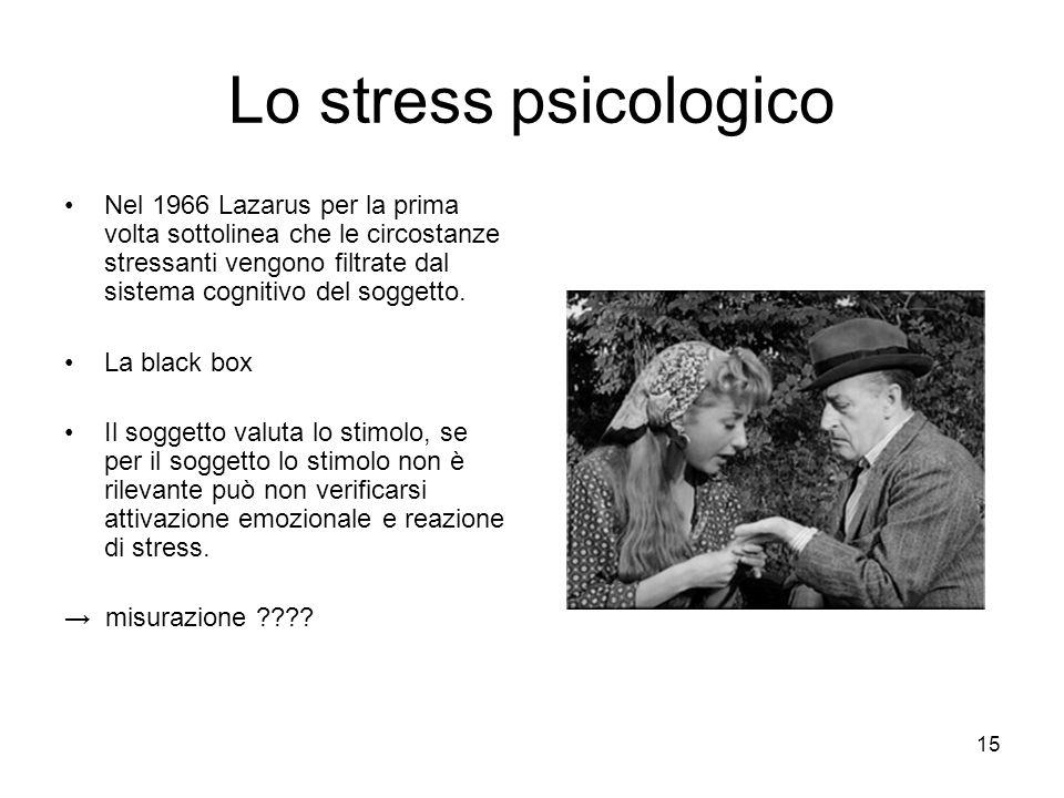 Lo stress psicologico Nel 1966 Lazarus per la prima volta sottolinea che le circostanze stressanti vengono filtrate dal sistema cognitivo del soggetto.