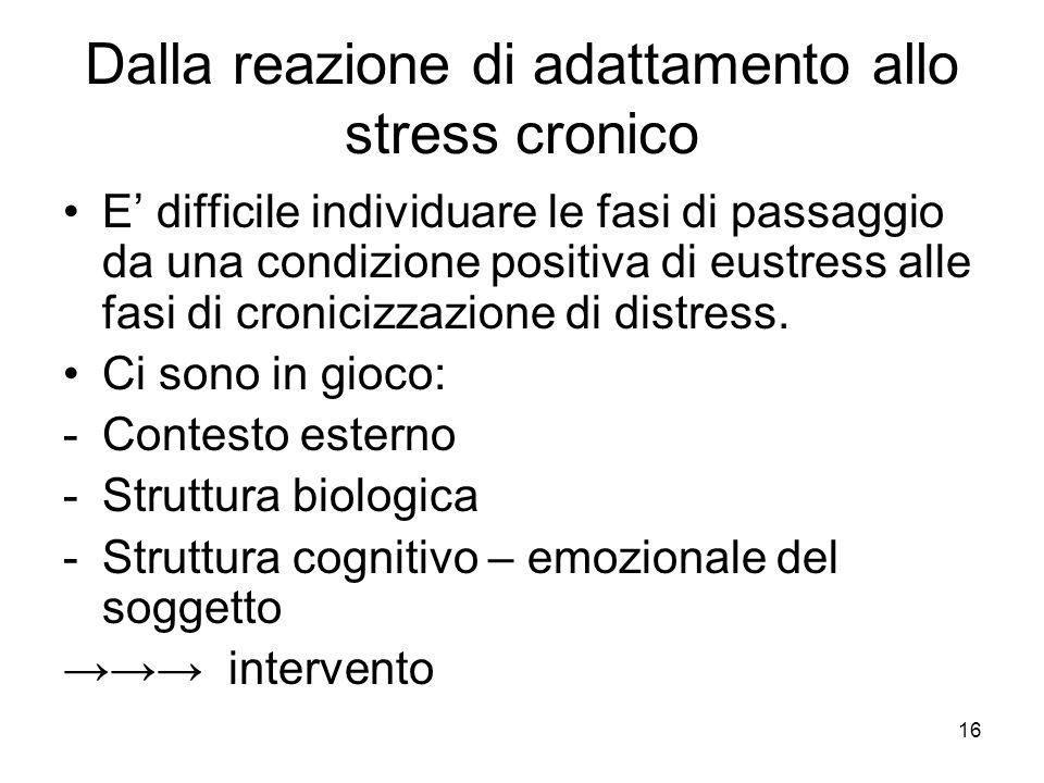 16 Dalla reazione di adattamento allo stress cronico E' difficile individuare le fasi di passaggio da una condizione positiva di eustress alle fasi di cronicizzazione di distress.