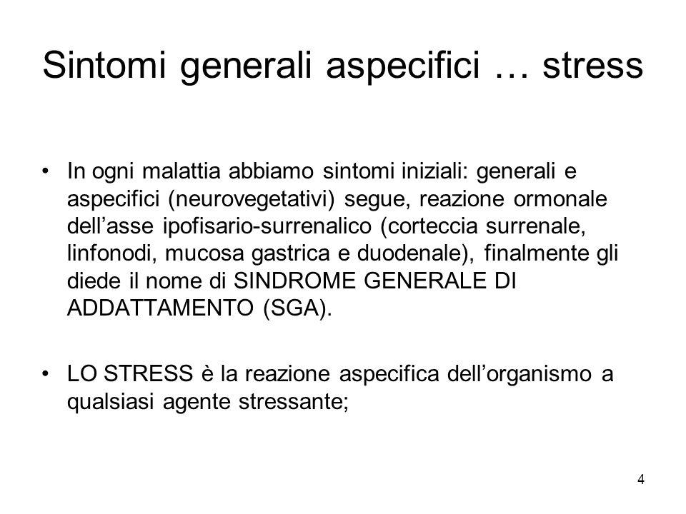 4 Sintomi generali aspecifici … stress In ogni malattia abbiamo sintomi iniziali: generali e aspecifici (neurovegetativi) segue, reazione ormonale dell'asse ipofisario-surrenalico (corteccia surrenale, linfonodi, mucosa gastrica e duodenale), finalmente gli diede il nome di SINDROME GENERALE DI ADDATTAMENTO (SGA).