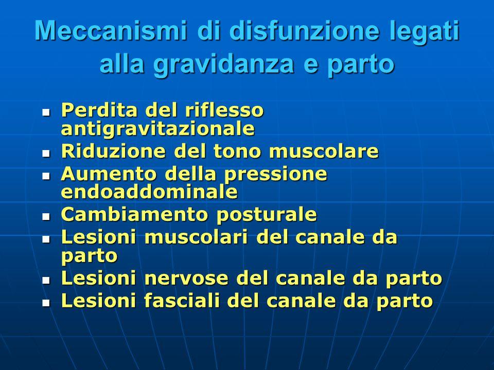 Meccanismi di disfunzione legati alla gravidanza e parto Perdita del riflesso antigravitazionale Perdita del riflesso antigravitazionale Riduzione del