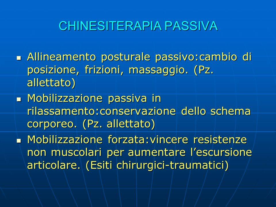 CHINESITERAPIA PASSIVA Allineamento posturale passivo:cambio di posizione, frizioni, massaggio. (Pz. allettato) Allineamento posturale passivo:cambio