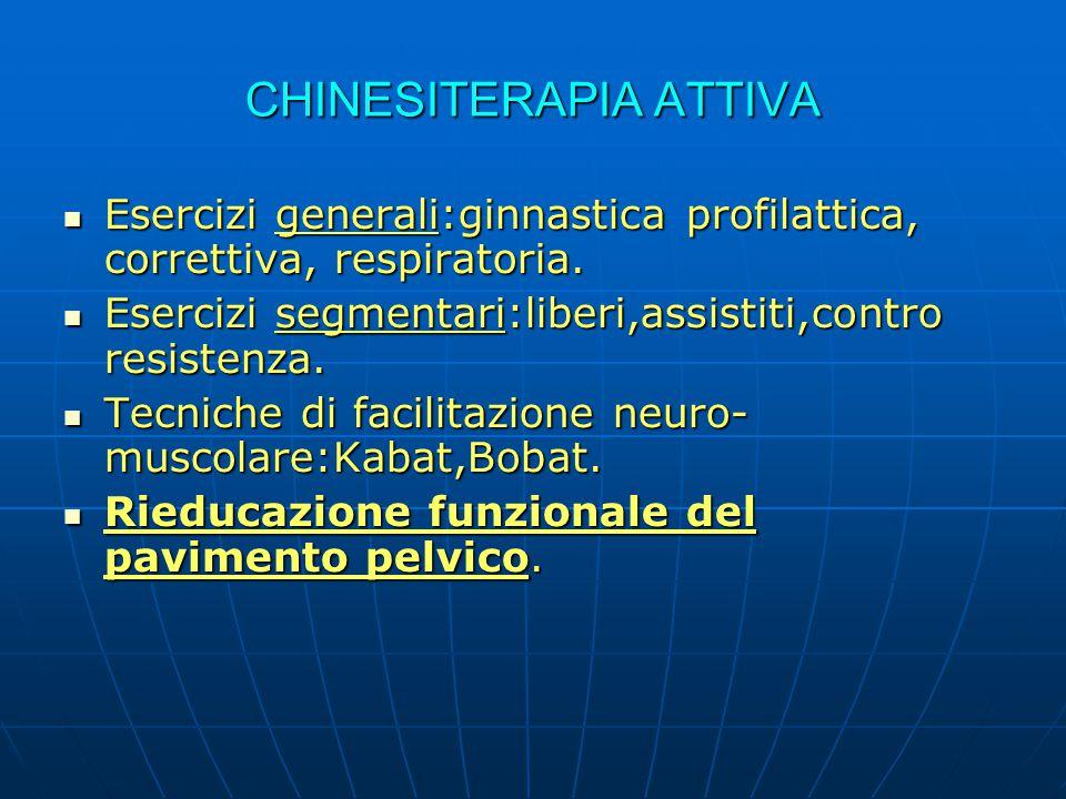 CHINESITERAPIA ATTIVA Esercizi generali:ginnastica profilattica, correttiva, respiratoria. Esercizi generali:ginnastica profilattica, correttiva, resp