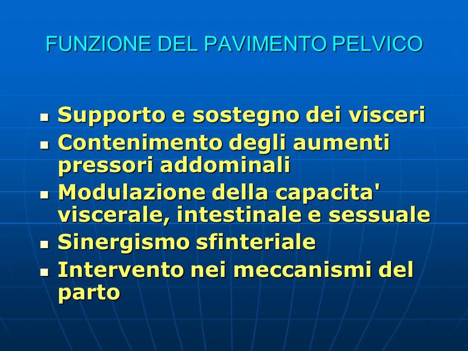 FUNZIONE DEL PAVIMENTO PELVICO Supporto e sostegno dei visceri Supporto e sostegno dei visceri Contenimento degli aumenti pressori addominali Contenim