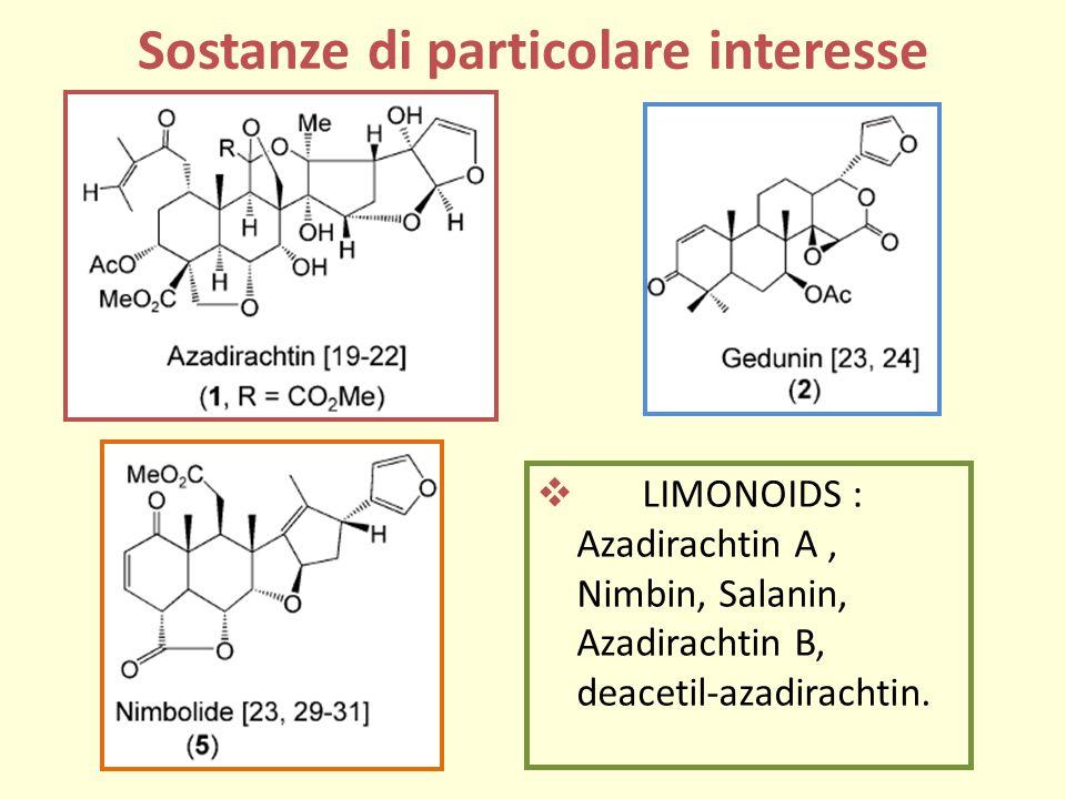 LIMONOIDS : Azadirachtin A, Nimbin, Salanin, Azadirachtin B, deacetil-azadirachtin.