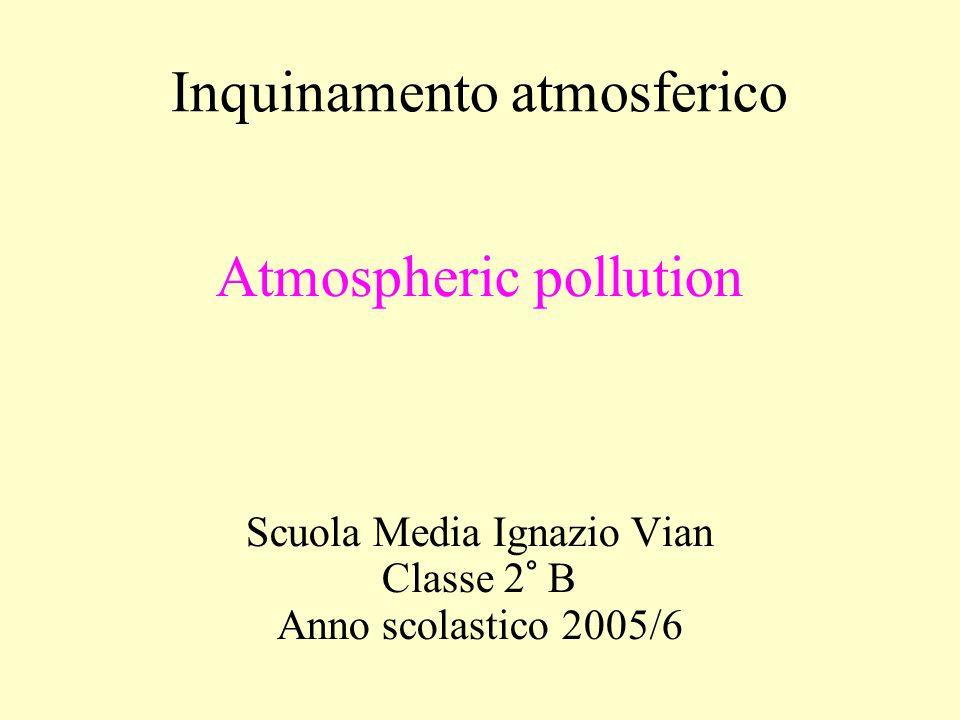 Inquinamento atmosferico Atmospheric pollution Scuola Media Ignazio Vian Classe 2° B Anno scolastico 2005/6