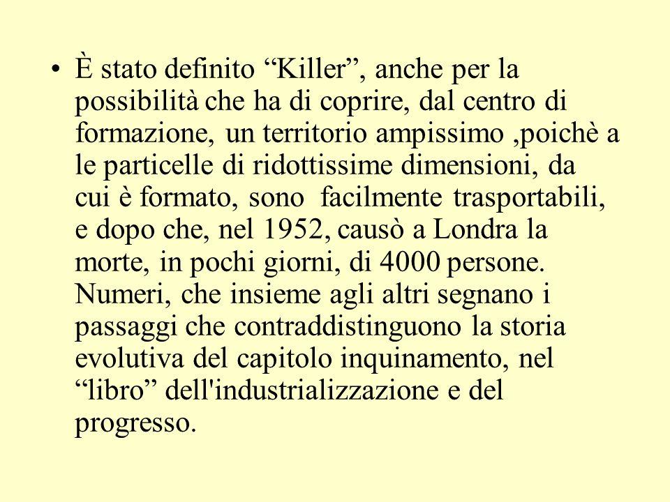 È stato definito Killer , anche per la possibilità che ha di coprire, dal centro di formazione, un territorio ampissimo,poichè a le particelle di ridottissime dimensioni, da cui è formato, sono facilmente trasportabili, e dopo che, nel 1952, causò a Londra la morte, in pochi giorni, di 4000 persone.