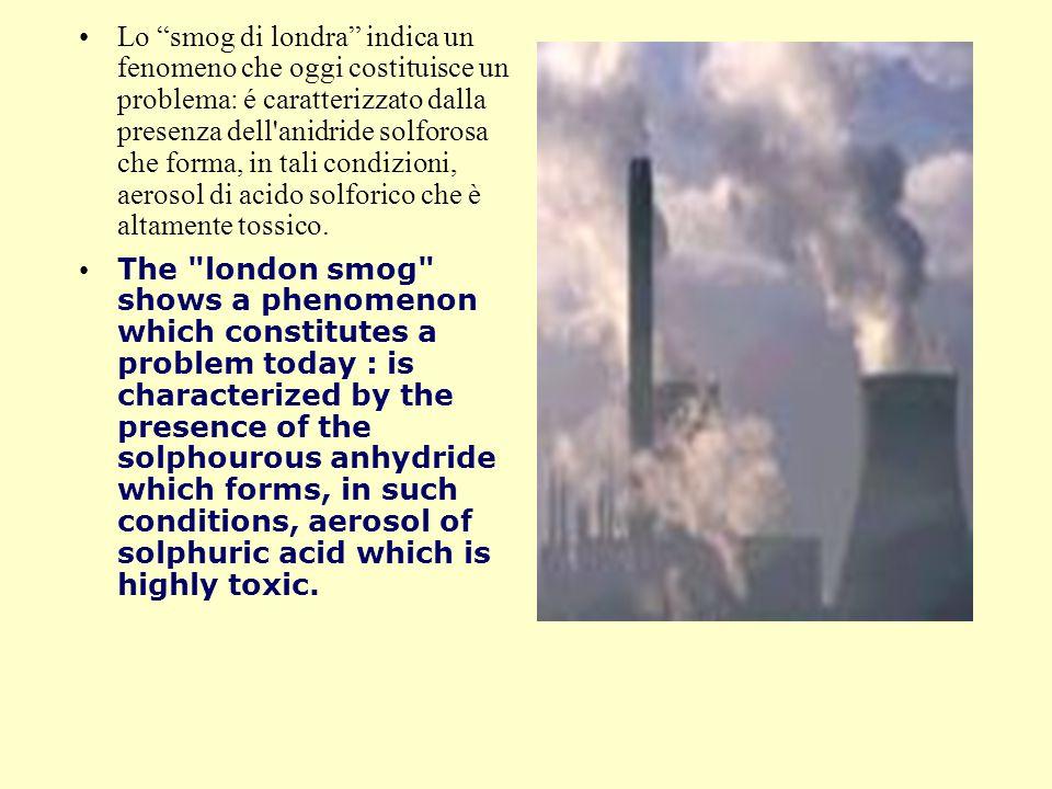 Lo smog di londra indica un fenomeno che oggi costituisce un problema: é caratterizzato dalla presenza dell anidride solforosa che forma, in tali condizioni, aerosol di acido solforico che è altamente tossico.