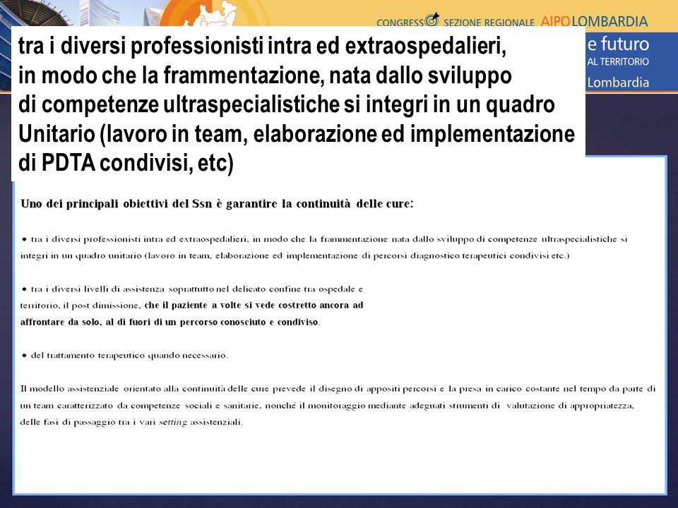 tra i diversi professionisti intra ed extraospedalieri, in modo che la frammentazione, nata dallo sviluppo di competenze ultraspecialistiche si integri in un quadro Unitario (lavoro in team, elaborazione ed implementazione di PDTA condivisi, etc)