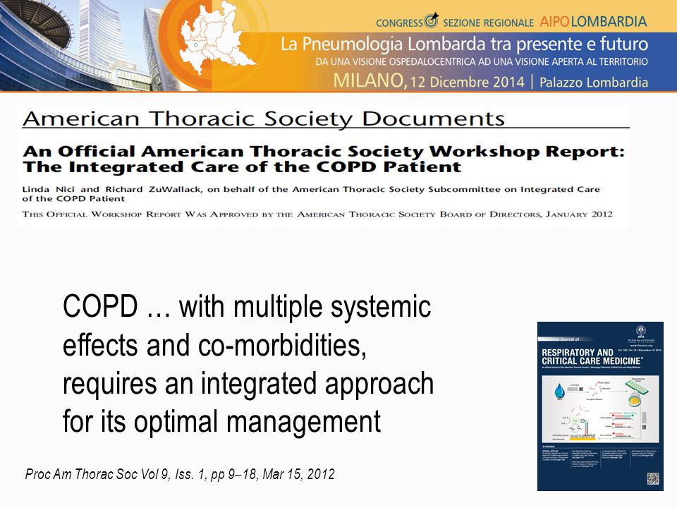 COPD … with multiple systemic effects and co-morbidities, requires an integrated approach for its optimal management Proc Am Thorac Soc Vol 9, Iss. 1,