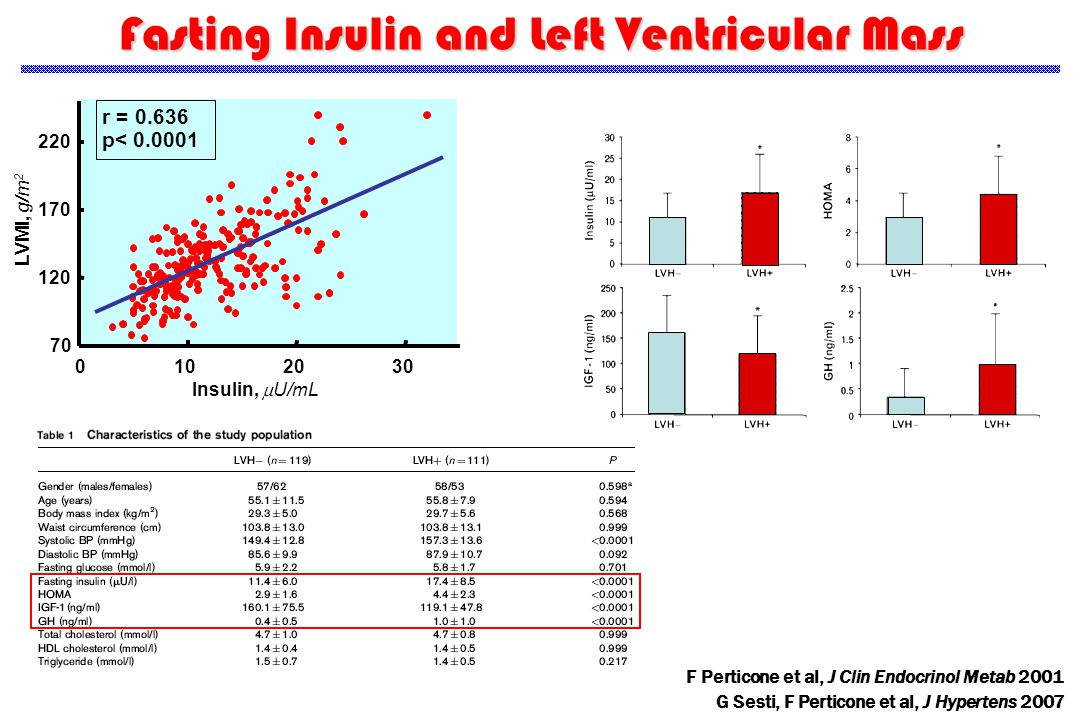 Fasting Insulin and Left Ventricular Mass G Sesti, F Perticone et al, J Hypertens 2007 LVMI, g/m 2 70 120 170 220 0102030 Insulin,  U/mL r = 0.636 p< 0.0001 F Perticone et al, J Clin Endocrinol Metab 2001