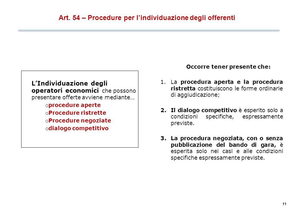 11 Art. 54 – Procedure per l'individuazione degli offerenti L'Individuazione degli operatori economici che possono presentare offerte avviene mediante