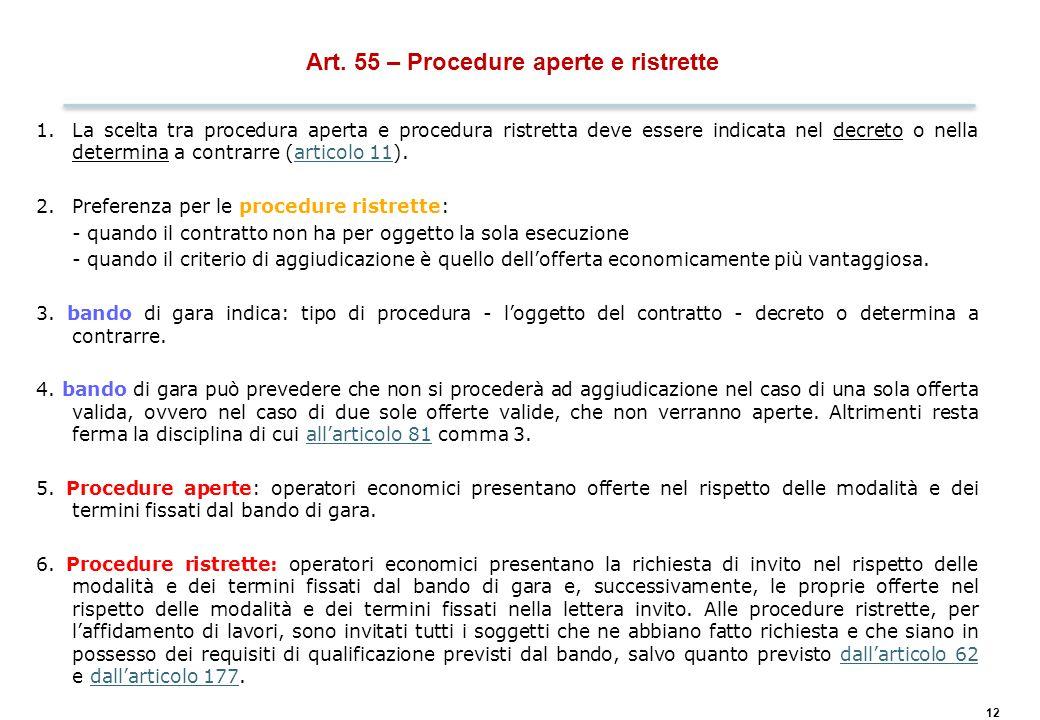 12 Art. 55 – Procedure aperte e ristrette 1.La scelta tra procedura aperta e procedura ristretta deve essere indicata nel decreto o nella determina a