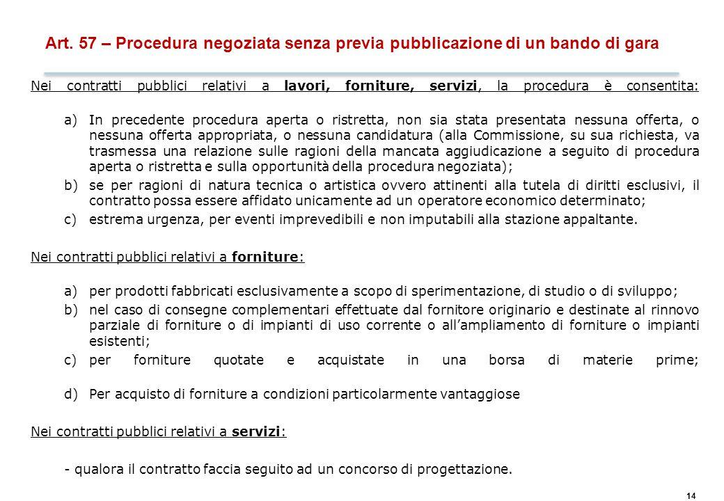 14 Art. 57 – Procedura negoziata senza previa pubblicazione di un bando di gara Nei contratti pubblici relativi a lavori, forniture, servizi, la proce