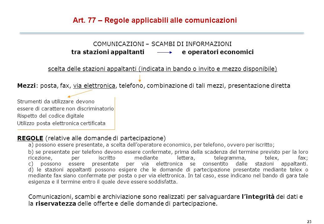 23 Art. 77 – Regole applicabili alle comunicazioni COMUNICAZIONI – SCAMBI DI INFORMAZIONI tra stazioni appaltanti e operatori economici scelta delle s