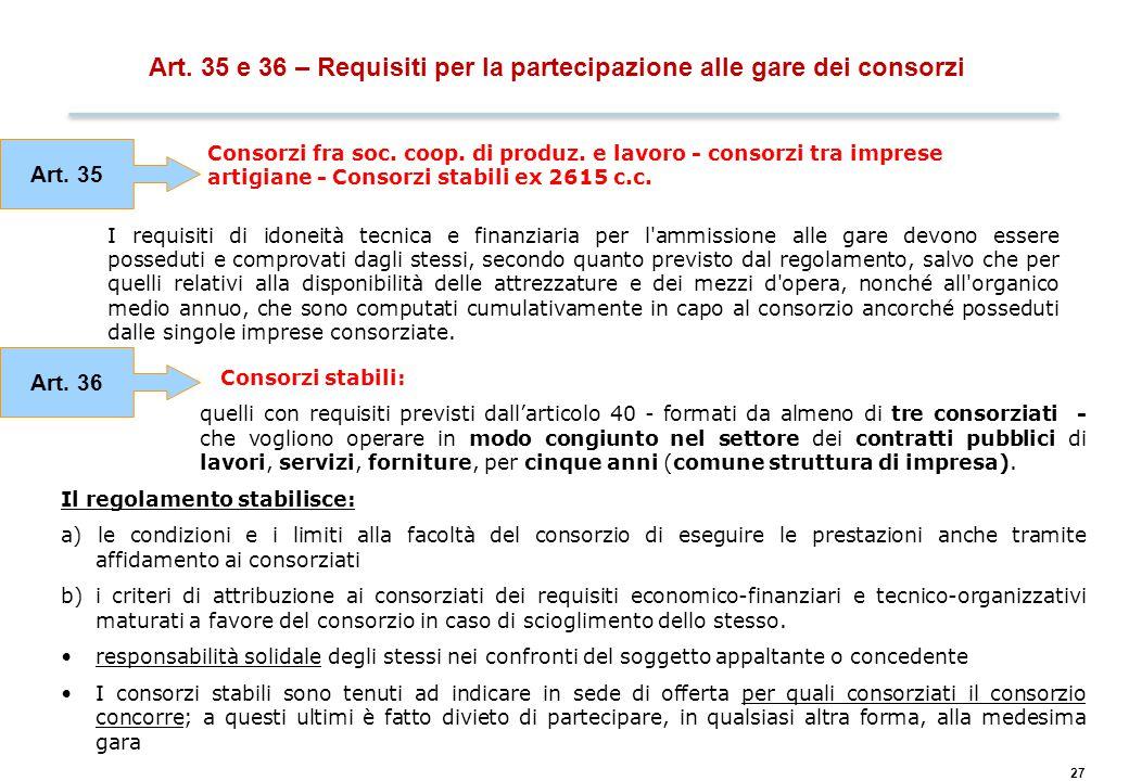 27 Art. 35 e 36 – Requisiti per la partecipazione alle gare dei consorzi Consorzi fra soc. coop. di produz. e lavoro - consorzi tra imprese artigiane