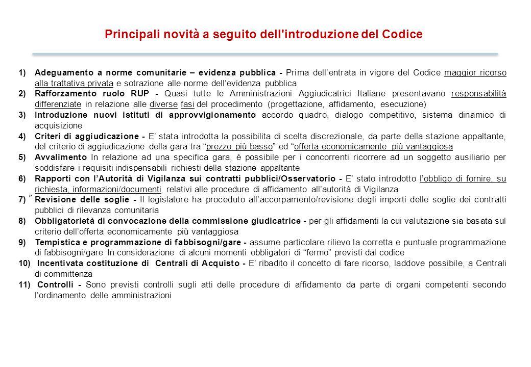 2 Principali novità a seguito dell'introduzione del Codice 1)Adeguamento a norme comunitarie – evidenza pubblica - Prima dell'entrata in vigore del Co