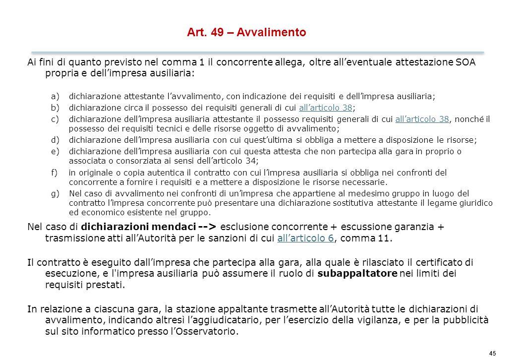 45 Art. 49 – Avvalimento Ai fini di quanto previsto nel comma 1 il concorrente allega, oltre all'eventuale attestazione SOA propria e dell'impresa aus