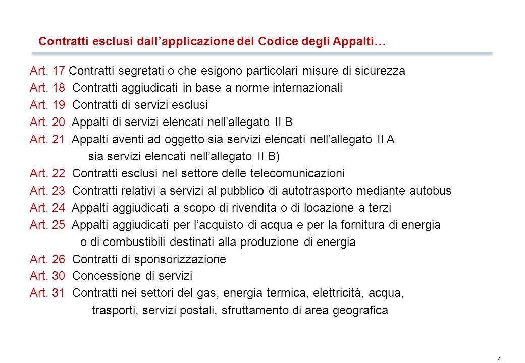 4 Contratti esclusi dall'applicazione del Codice degli Appalti… Art. 17 Contratti segretati o che esigono particolari misure di sicurezza Art. 18 Cont