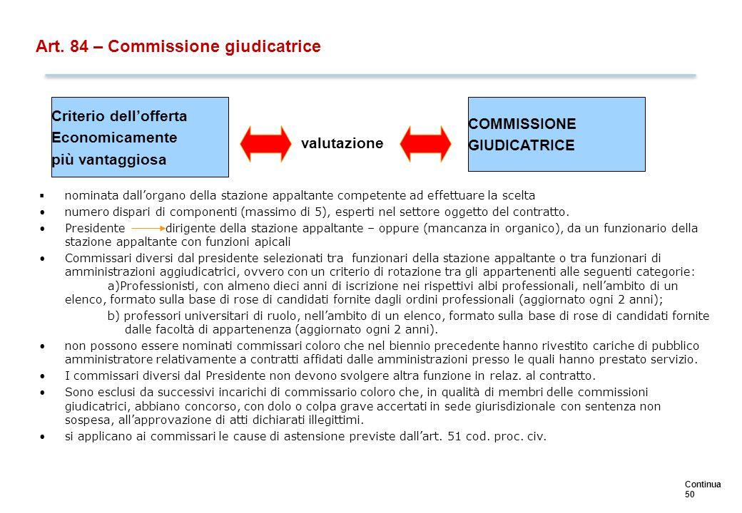 Continua 50 Art. 84 – Commissione giudicatrice  nominata dall'organo della stazione appaltante competente ad effettuare la scelta numero dispari di c