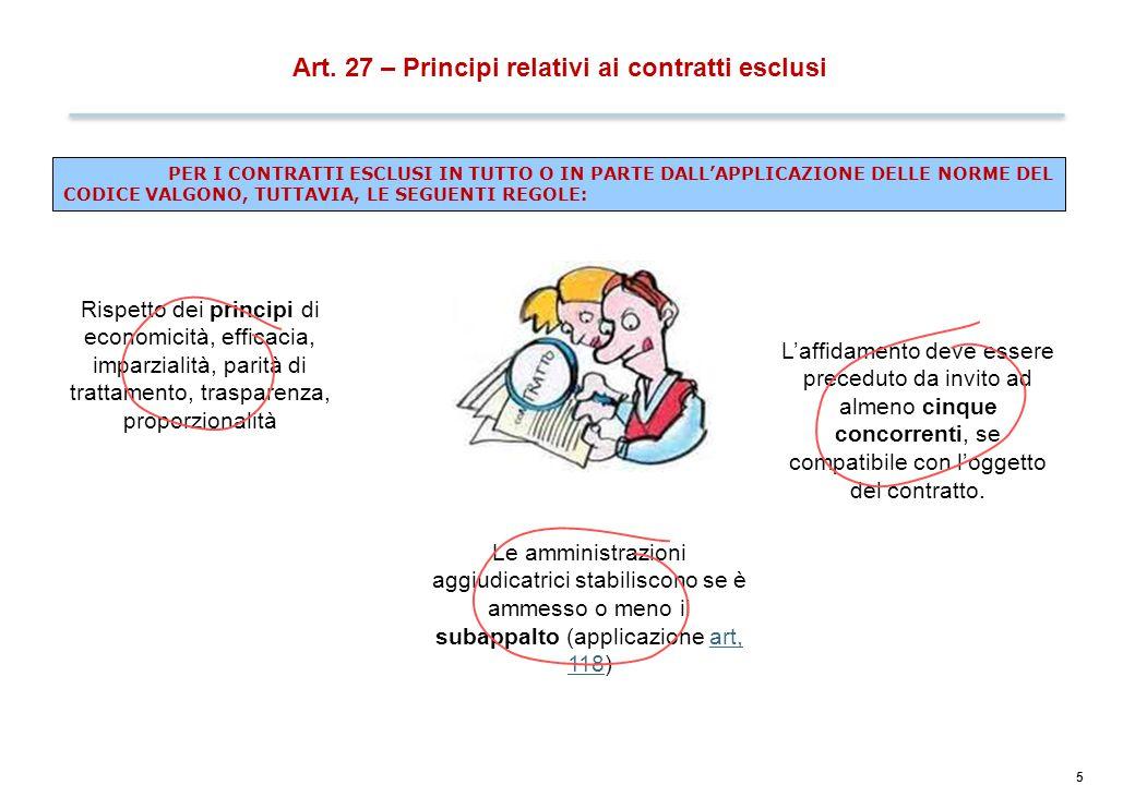 5 Art. 27 – Principi relativi ai contratti esclusi PER I CONTRATTI ESCLUSI IN TUTTO O IN PARTE DALL'APPLICAZIONE DELLE NORME DEL CODICE VALGONO, TUTTA