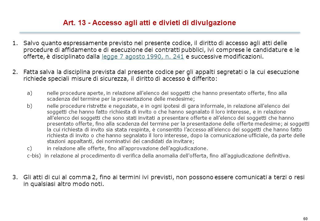 60 Art. 13 - Accesso agli atti e divieti di divulgazione 1.Salvo quanto espressamente previsto nel presente codice, il diritto di accesso agli atti de