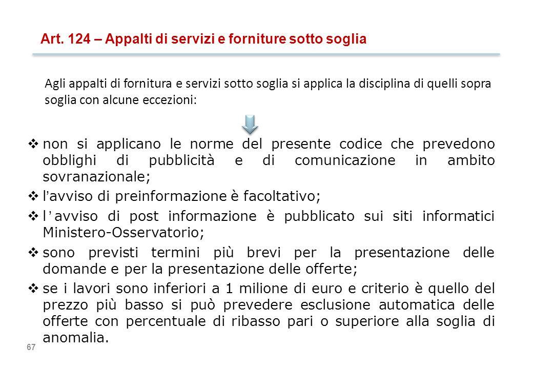 67 Art. 124 – Appalti di servizi e forniture sotto soglia  non si applicano le norme del presente codice che prevedono obblighi di pubblicità e di co