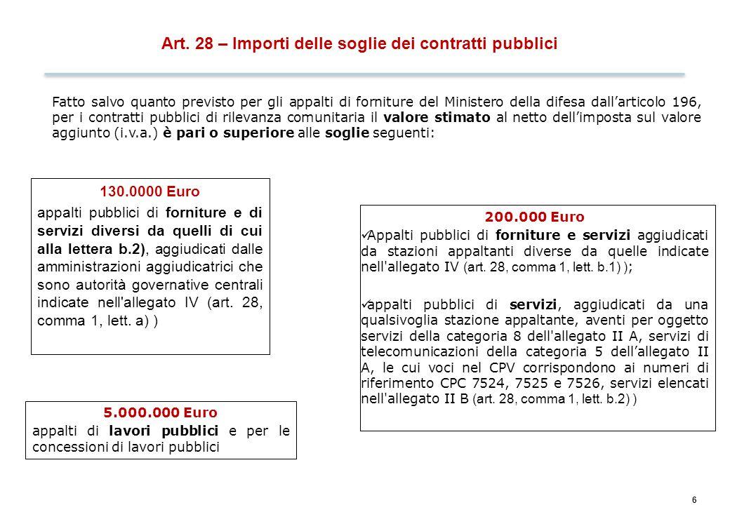 6 Art. 28 – Importi delle soglie dei contratti pubblici Fatto salvo quanto previsto per gli appalti di forniture del Ministero della difesa dall'artic