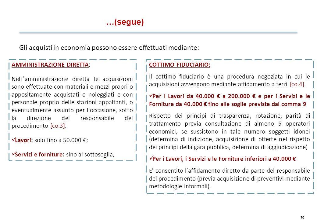 70 Gli acquisti in economia possono essere effettuati mediante: AMMINISTRAZIONE DIRETTA: Nell'amministrazione diretta le acquisizioni sono effettuate