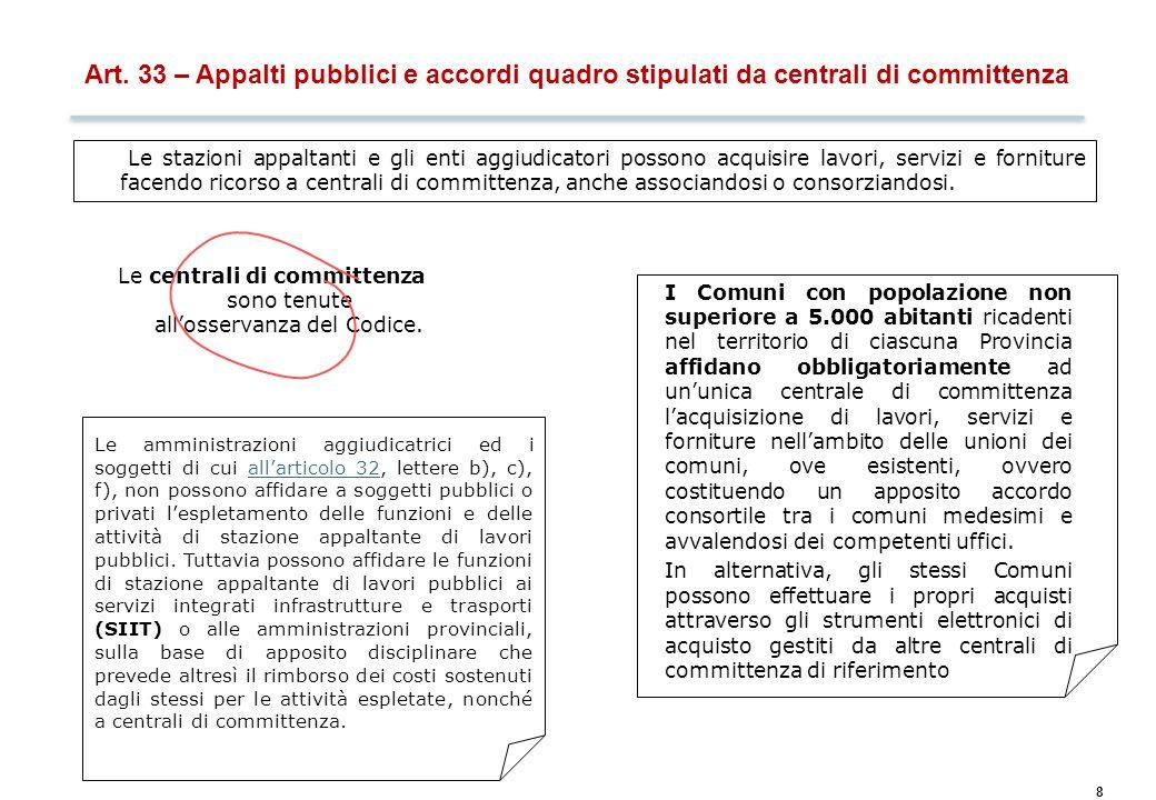 8 Art. 33 – Appalti pubblici e accordi quadro stipulati da centrali di committenza Le stazioni appaltanti e gli enti aggiudicatori possono acquisire l