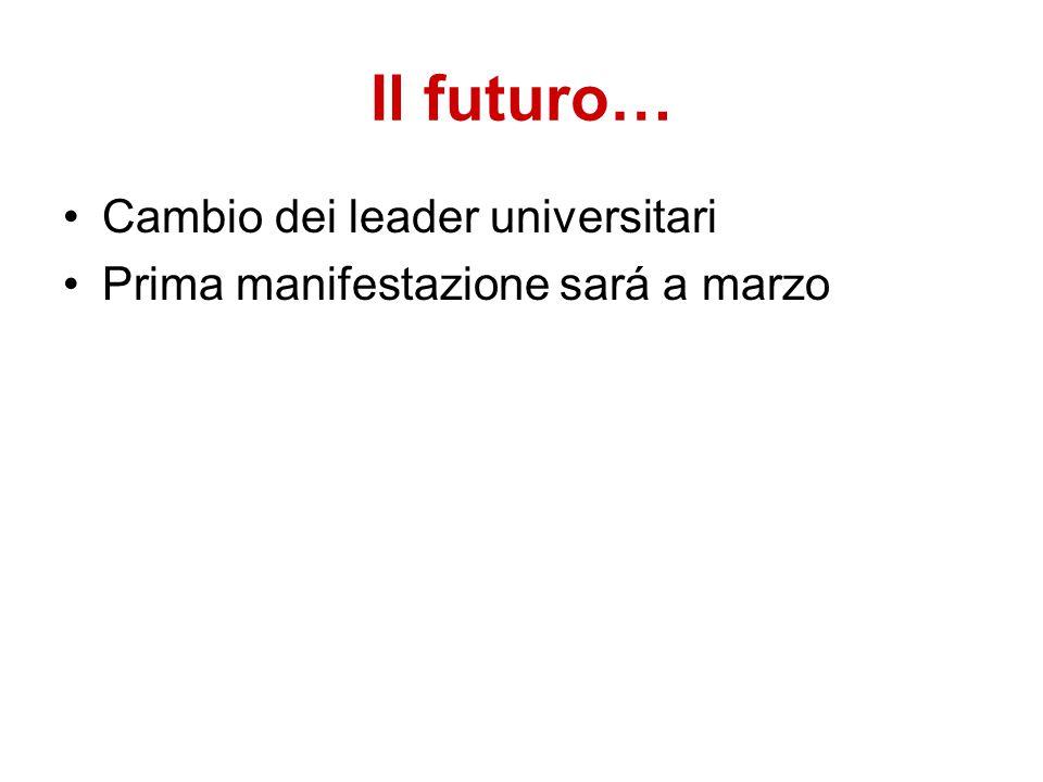 Il futuro… Cambio dei leader universitari Prima manifestazione sará a marzo