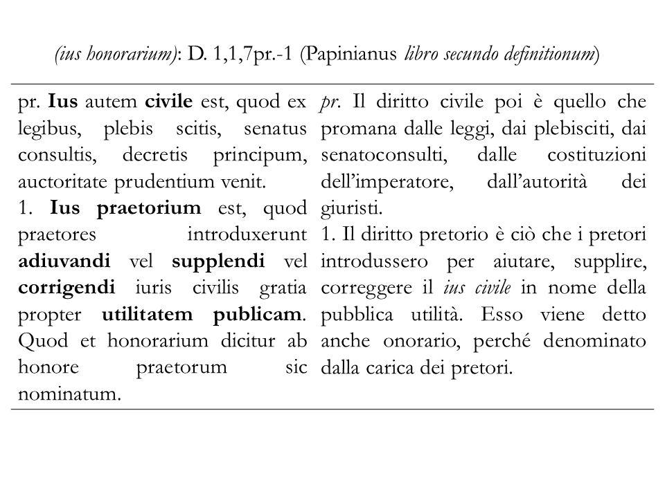 (ius honorarium): D. 1,1,7pr.-1 (Papinianus libro secundo definitionum) pr.