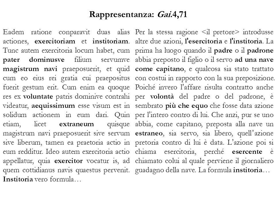 Rappresentanza: Gai.4,71 Eadem ratione conparavit duas alias actiones, exercitoriam et institoriam.