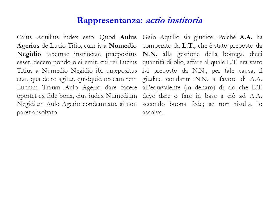 Rappresentanza: actio institoria Caius Aquilius iudex esto.