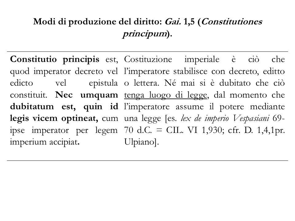 Modi di produzione del diritto: Gai. 1,5 (Constitutiones principum).
