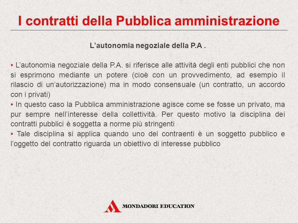 L'autonomia negoziale della P.A. L'autonomia negoziale della P.A. si riferisce alle attività degli enti pubblici che non si esprimono mediante un pote