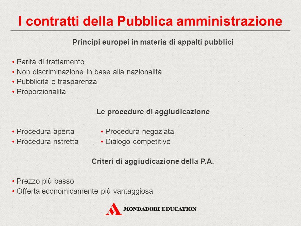 Principi europei in materia di appalti pubblici Parità di trattamento Non discriminazione in base alla nazionalità Pubblicità e trasparenza Proporzionalità Le procedure di aggiudicazione Procedura aperta Procedura negoziata Procedura ristretta Dialogo competitivo Criteri di aggiudicazione della P.A.