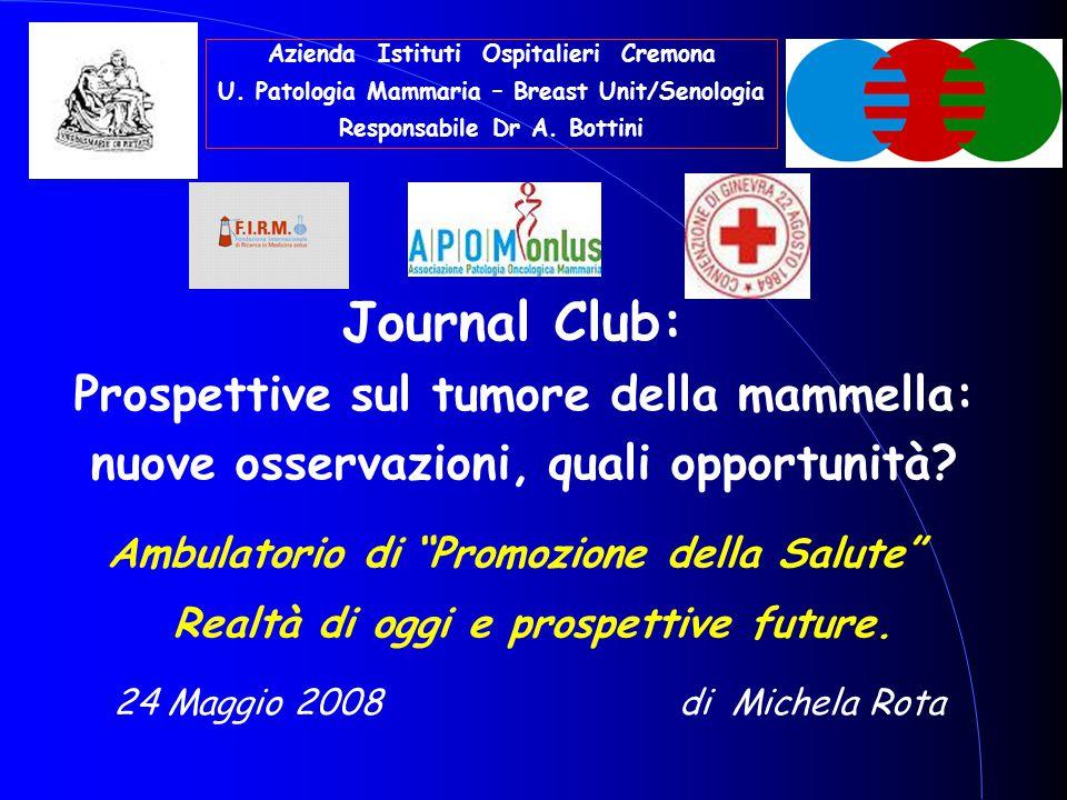 """di Michela Rota24 Maggio 2008 Ambulatorio di """"Promozione della Salute"""" Realtà di oggi e prospettive future. Journal Club: Prospettive sul tumore della"""
