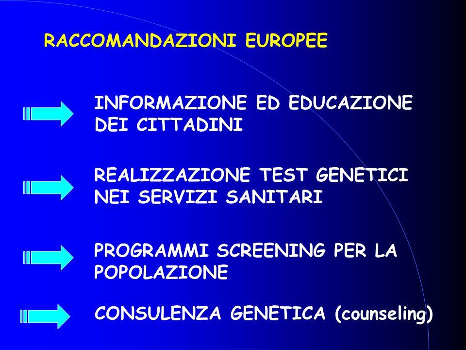INFORMAZIONE ED EDUCAZIONE DEI CITTADINI REALIZZAZIONE TEST GENETICI NEI SERVIZI SANITARI PROGRAMMI SCREENING PER LA POPOLAZIONE RACCOMANDAZIONI EUROP