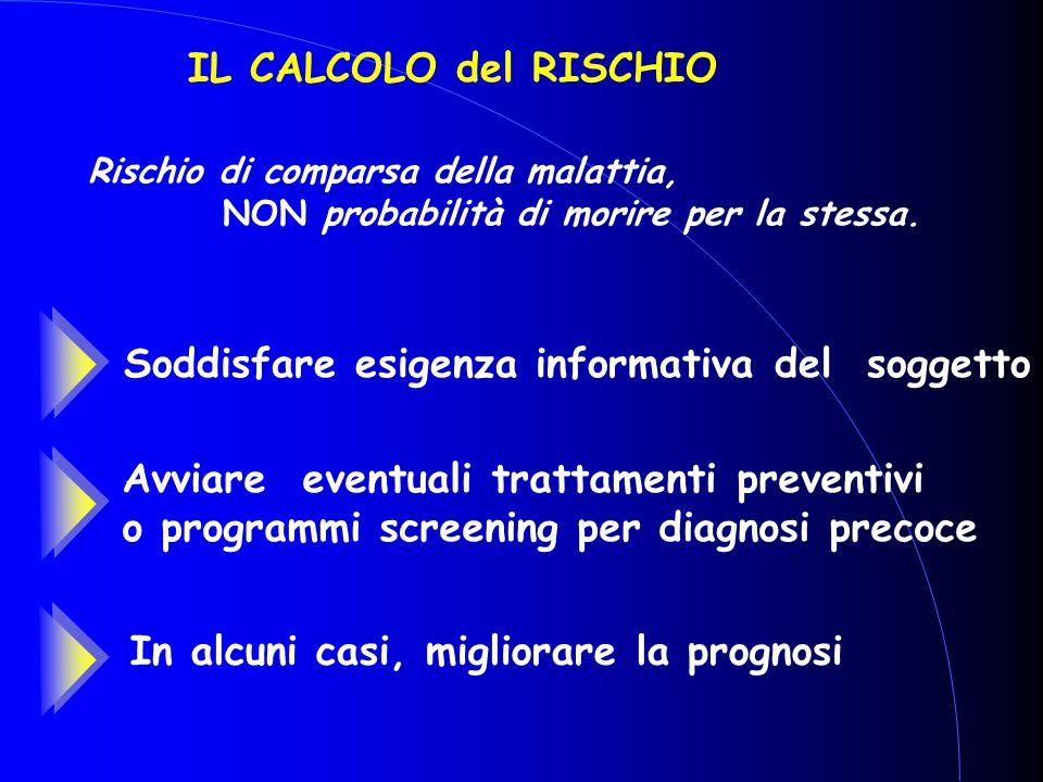 IL CALCOLO del RISCHIO Rischio di comparsa della malattia, NON probabilità di morire per la stessa. Soddisfare esigenza informativa del soggetto Avvia