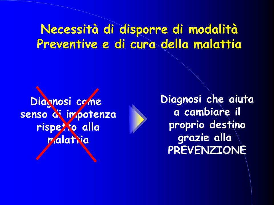 Necessità di disporre di modalità Preventive e di cura della malattia Diagnosi come senso di impotenza rispetto alla malattia Diagnosi che aiuta a cam