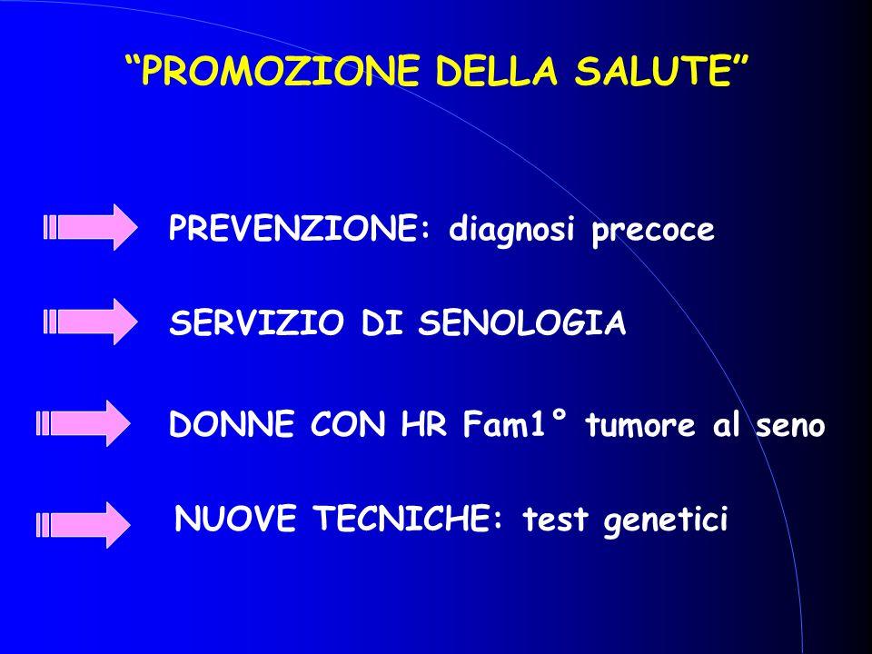 """""""PROMOZIONE DELLA SALUTE"""" PREVENZIONE: diagnosi precoce SERVIZIO DI SENOLOGIA DONNE CON HR Fam1° tumore al seno NUOVE TECNICHE: test genetici"""